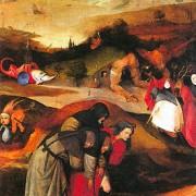 """Hieronymus Bosch Der linke Flügel des Tryptichons """" Die Versuchung des heiligen Antonius"""" Öl auf Holz, Museu Nacional de Arte Antiga, Lissabon"""