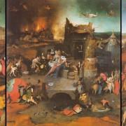 "Hieronymus Bosch Das gesamte Tryptichon "" Die Versuchung des heiligen Antonius"" Öl auf Holz, Museu Nacional de Arte Antiga, Lissabon"